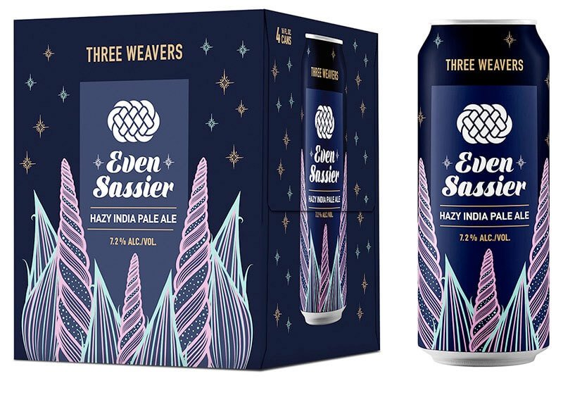 Packaging design for four packs of 16 oz. cans of the Even Sassier Hazy IPA by Three Weaver Brewing Company