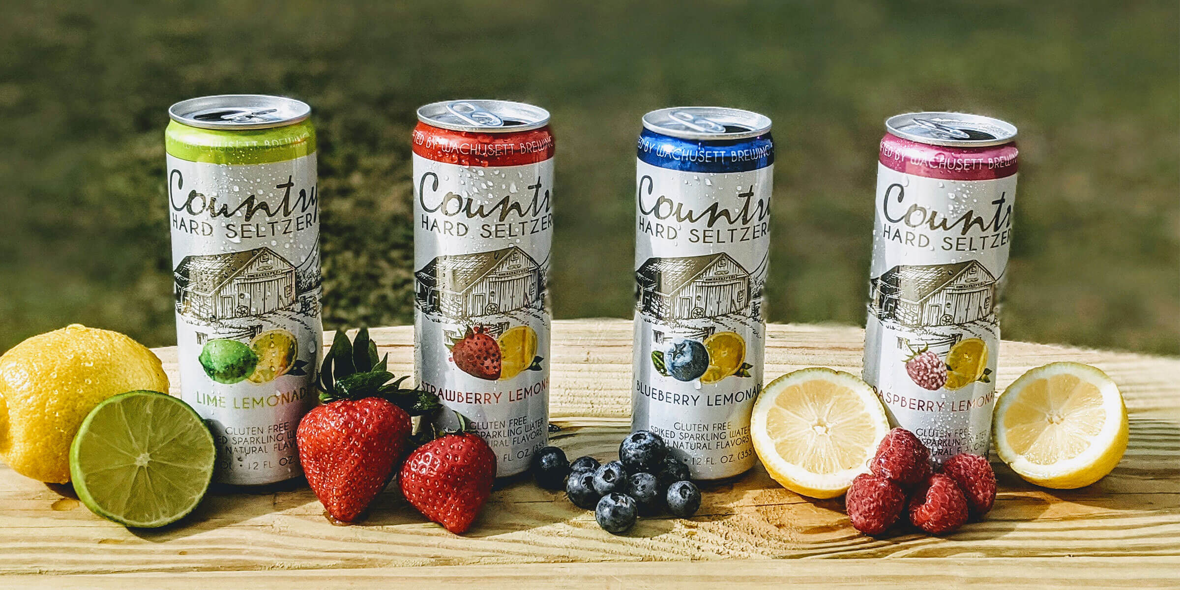 Canned lineup of Country Hard Seltzer by Wachusett Brewing Company