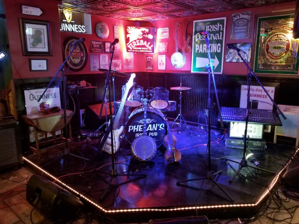 The music stage in Jim Phelan's Irish Pub
