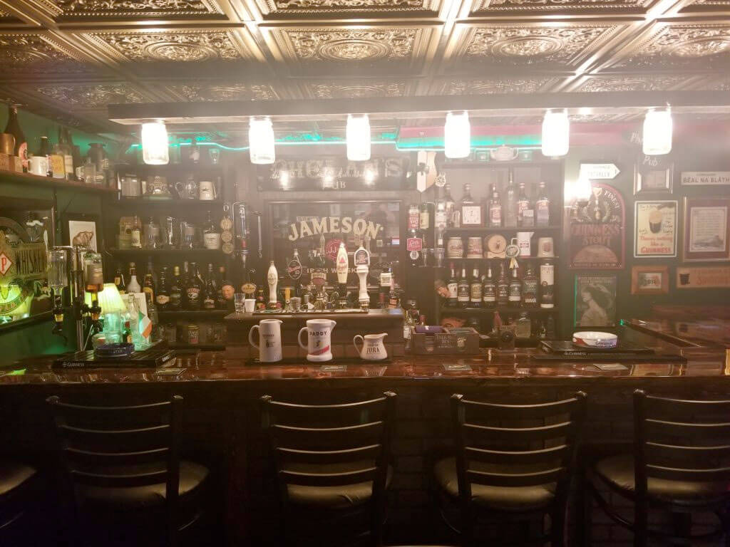 The bar of the Irish Pub in the basement of Jim Phelan's home in Baltimore, Maryland