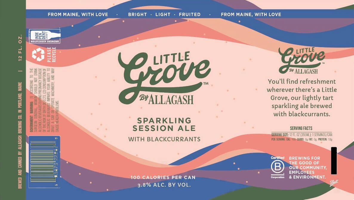 Label design for 12 oz. cans of the Little Grove Sparkling Session Ale with Blackcurrants by Allagash Brewing Company