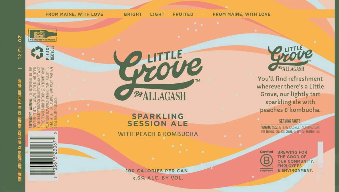 Label design for 12 oz. cans of the Little Grove Sparkling Session Ale with Peach and Kombucha by Allagash Brewing Company