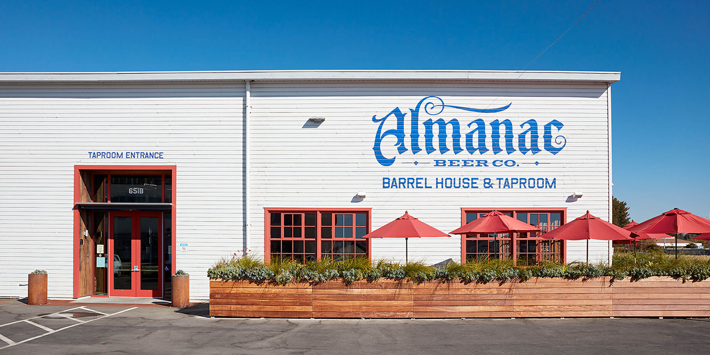 Outside the entrance to the taproom at Almanac Beer Co. in Alameda, California