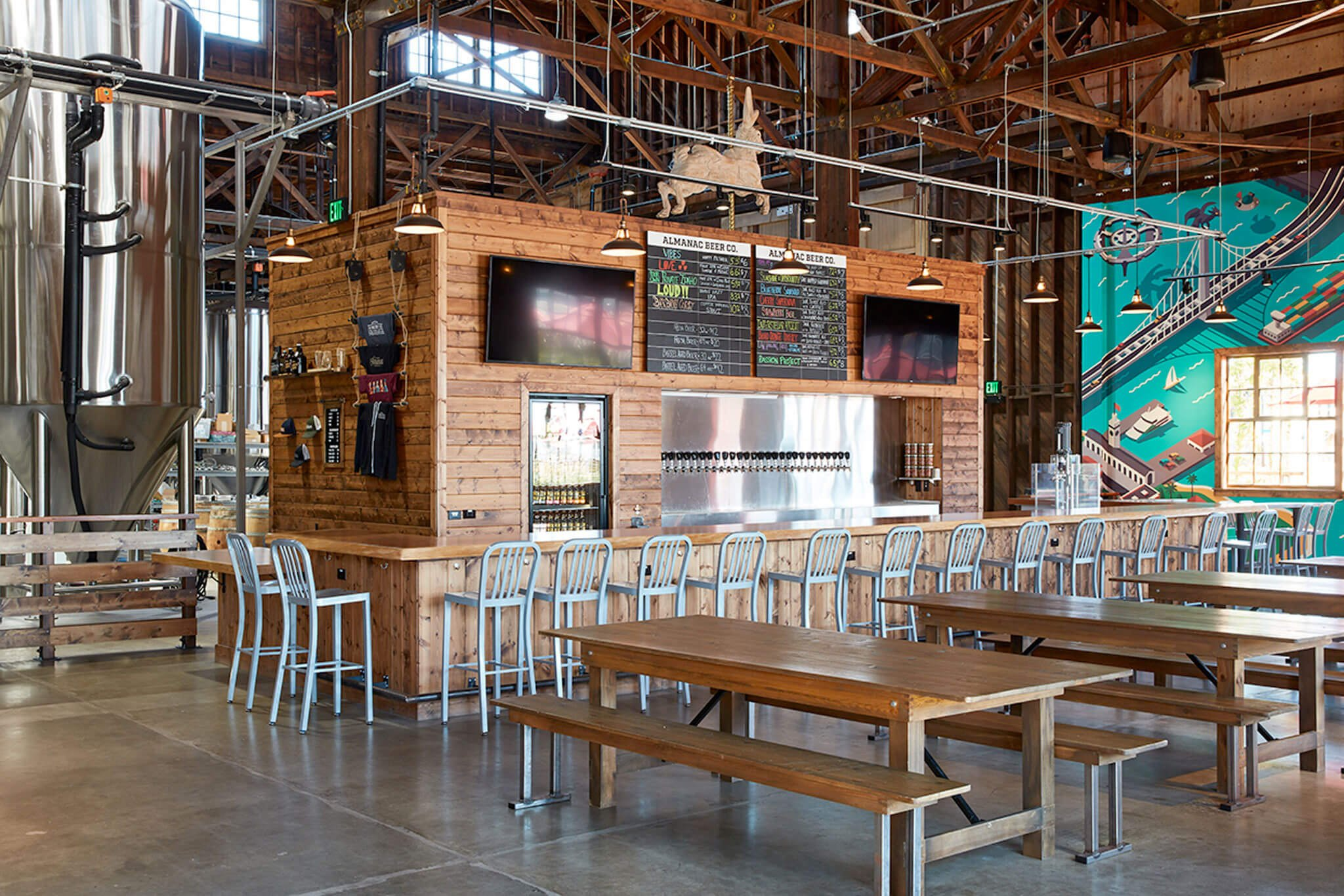 Inside the taproom at Almanac Beer Co. in Alameda, California