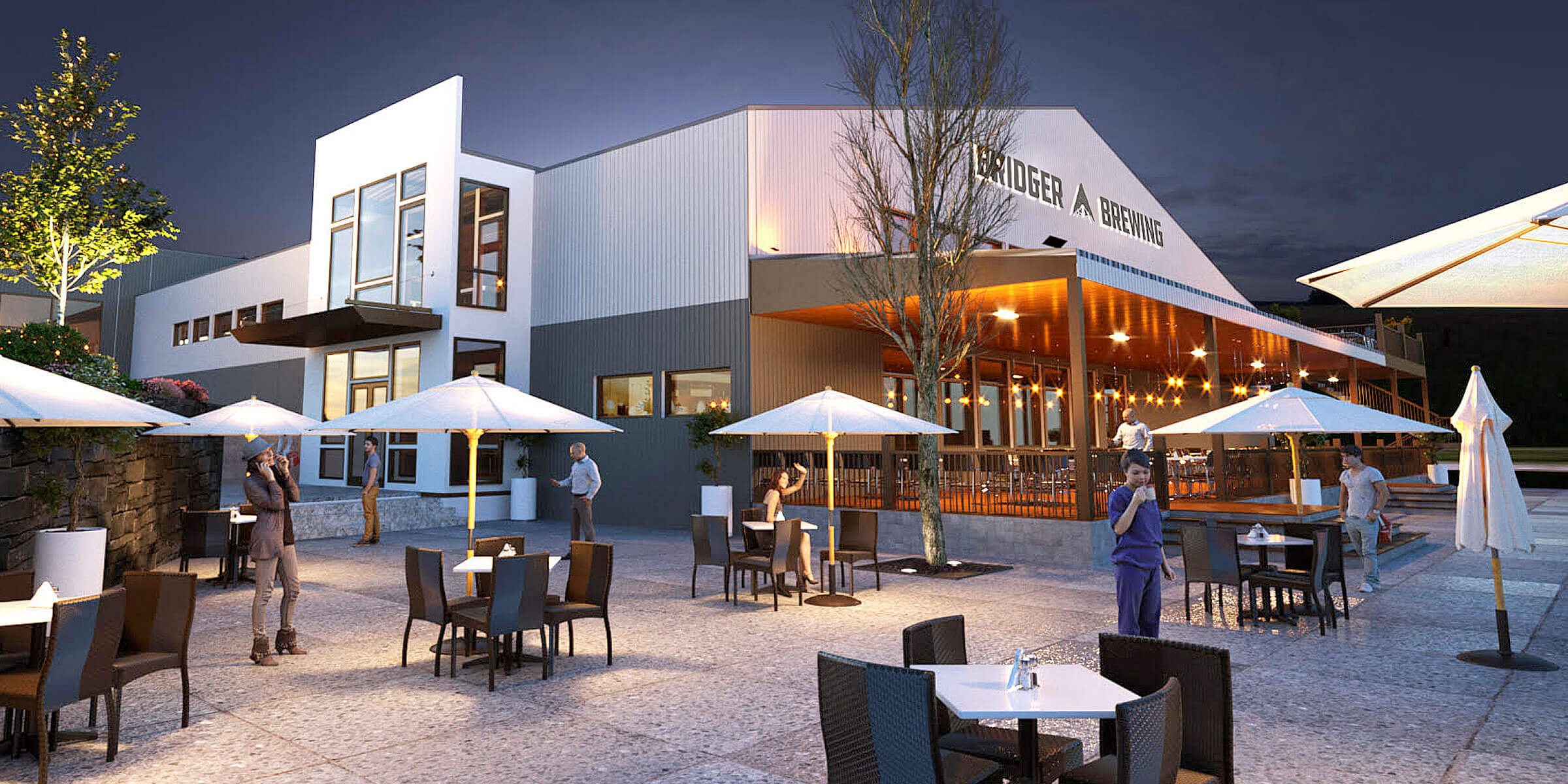 An architectural rendering of the new Bridger Brewing location in Three Forks, Montana