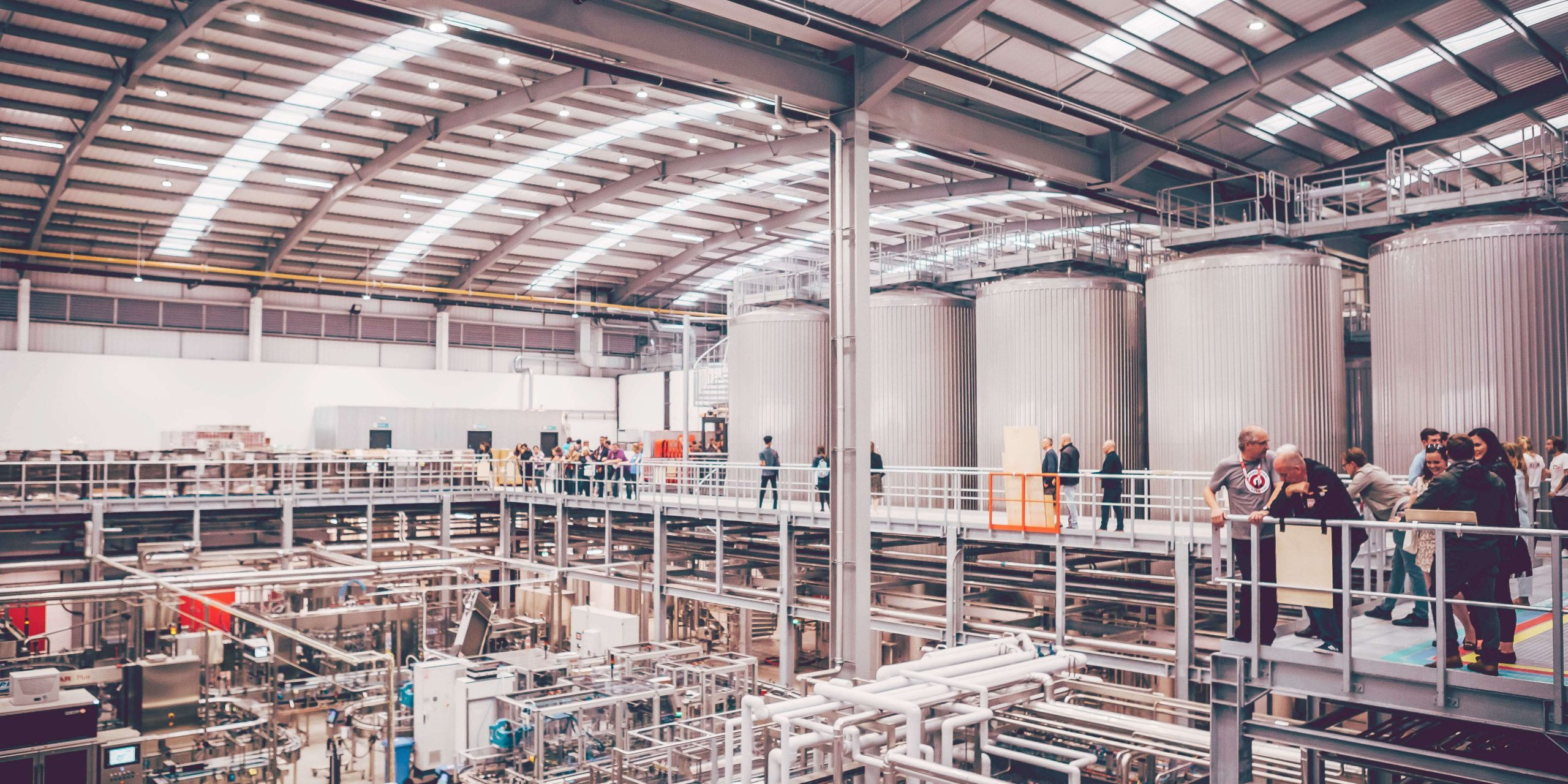 Inside the production facility at Camden Town Brewery in Enfield, England