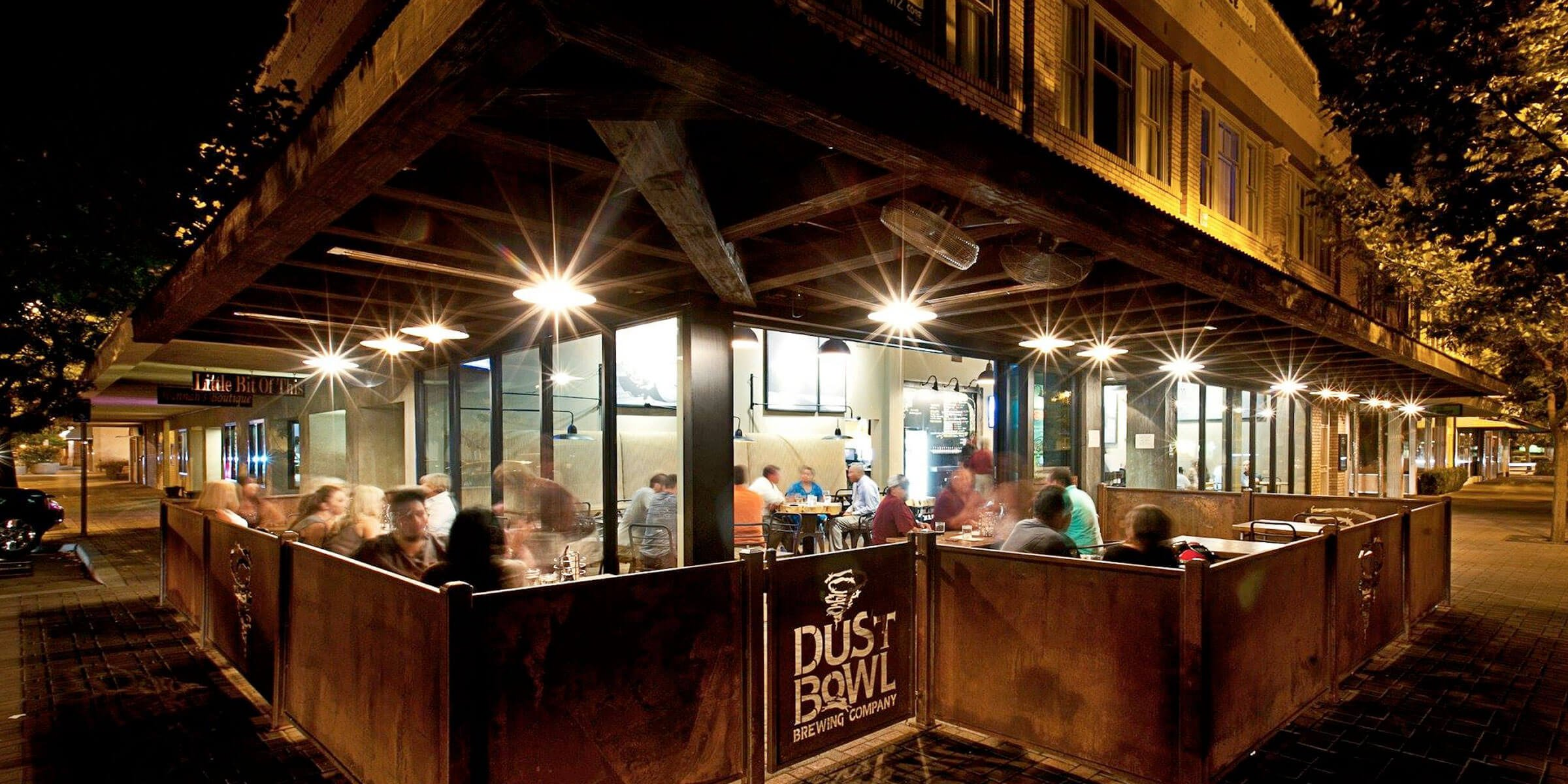 Outside on the patio at Dust Bowl Brewing Co. in downtown Turlock, California
