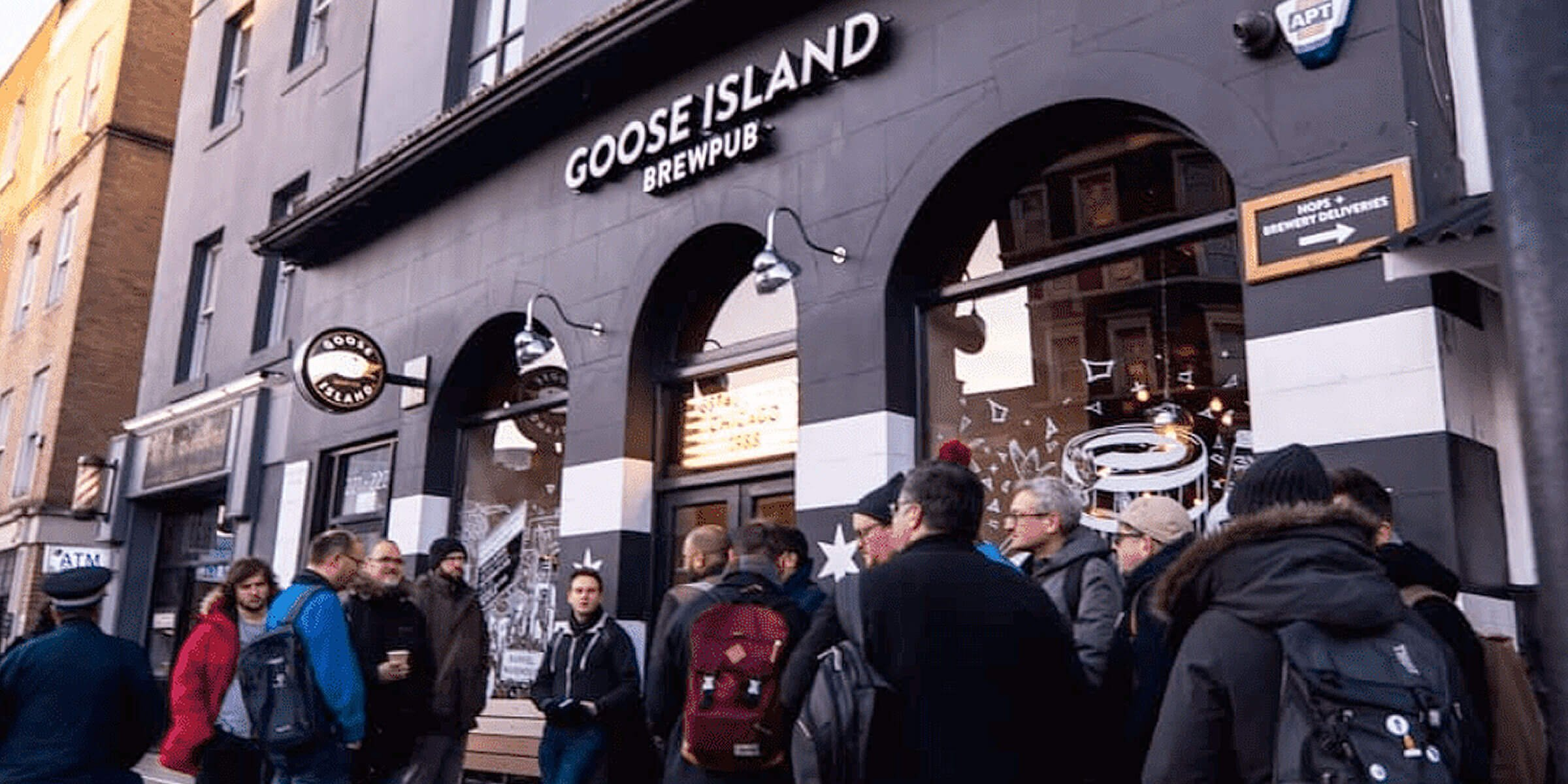 Outside the entrance to the Goose Island Beer Co. brewpub in London, United Kingdom
