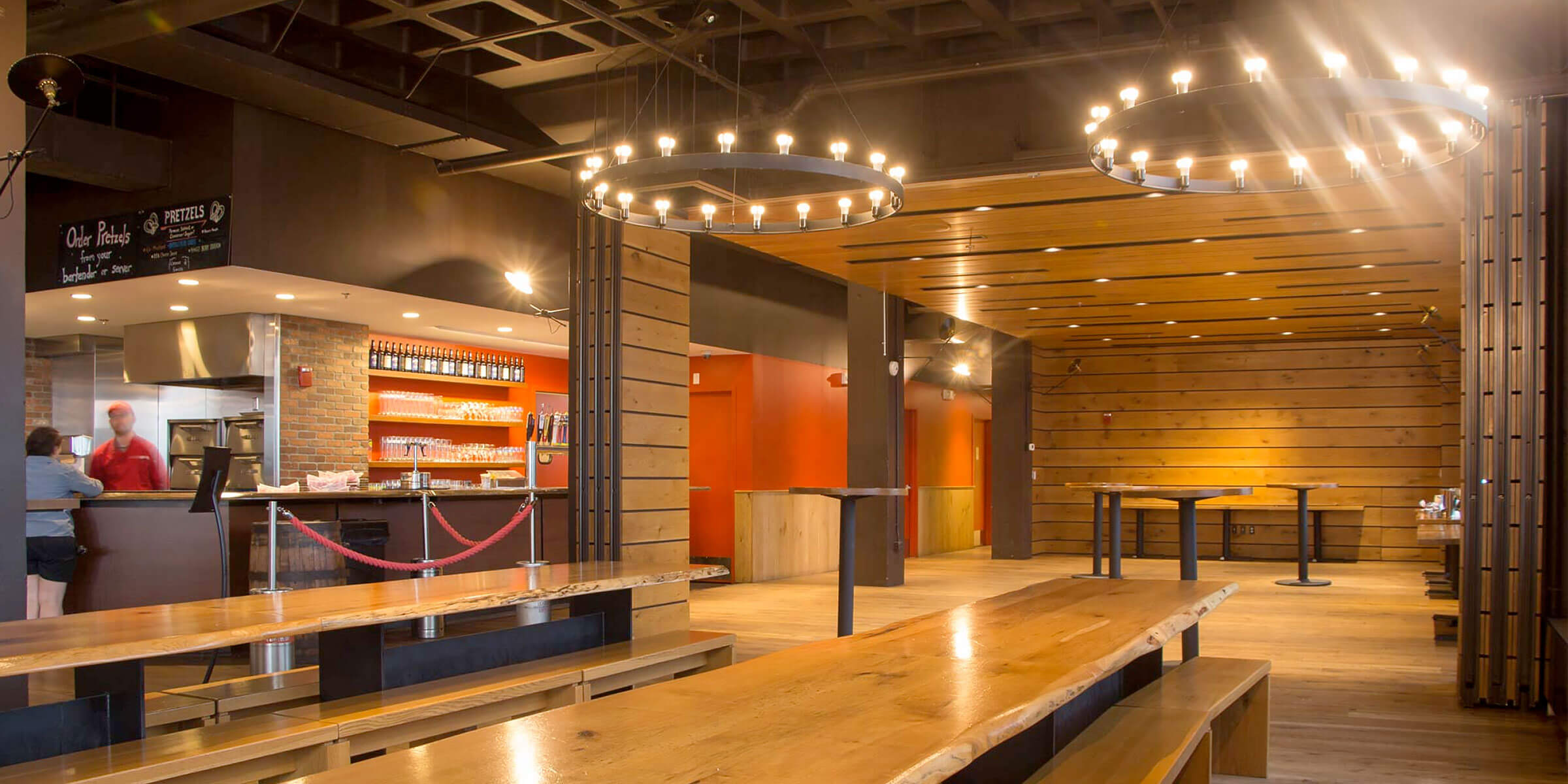 Inside the Harpoon Brewery taproom at the company's Beer Hall in Boston, Massachusetts