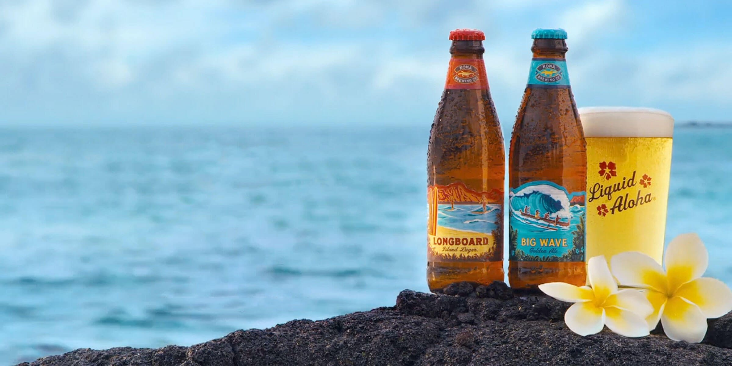 12 oz. bottles of the Longboard Island Lager and the Big Wave Golden Ale by Kona Brewing Co.