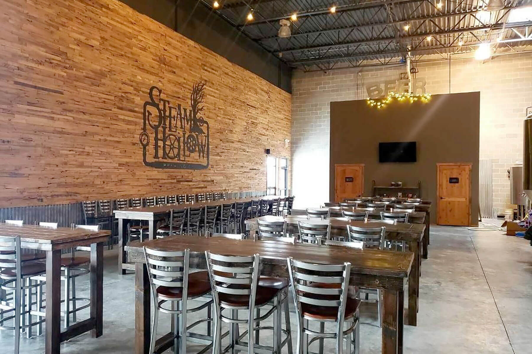 Inside the taproom at Steam Hollow Brewing Co. is located in Manteno, Illinois