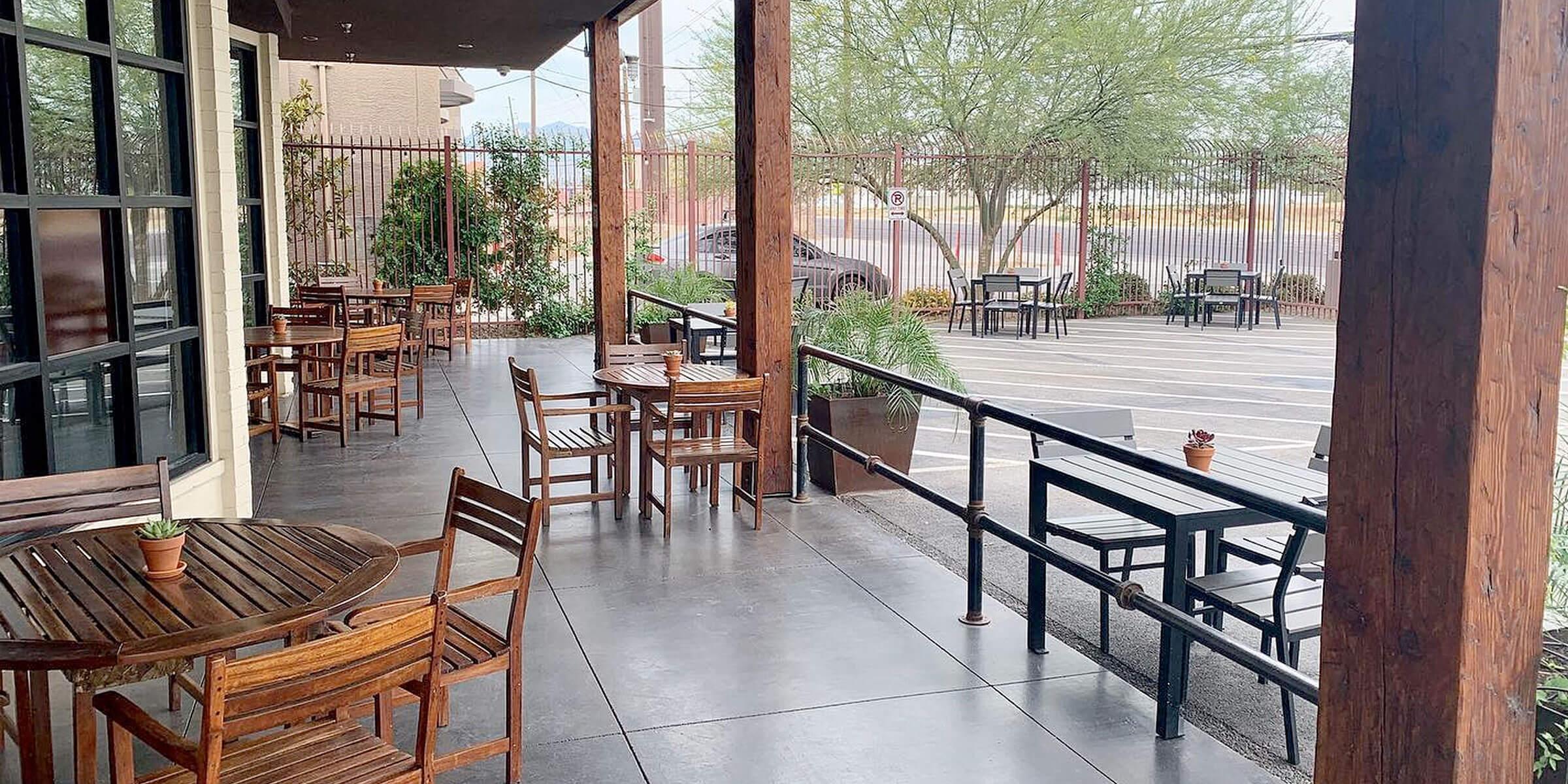 Outside on the patio at Tenaya Creek Brewery in Las Vegas, Nevada
