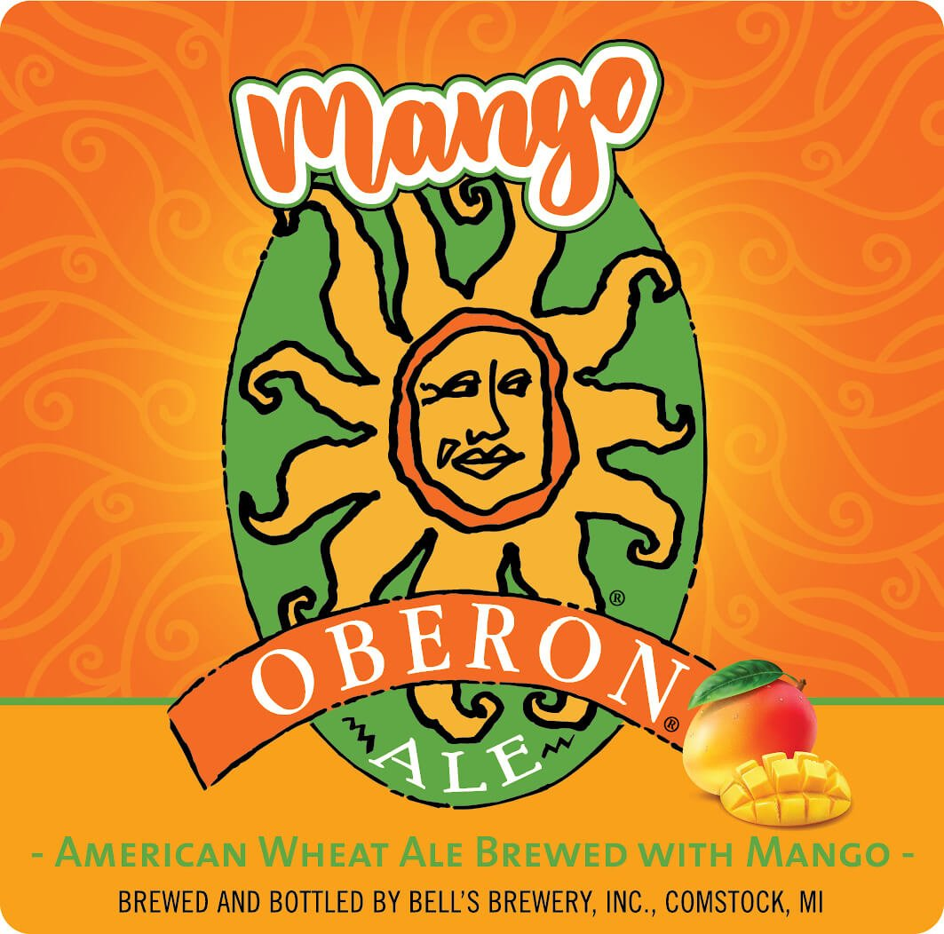 Label design for 12 oz. bottles of the Mango Oberon American Wheat Ale by Bell's Brewery, Inc.