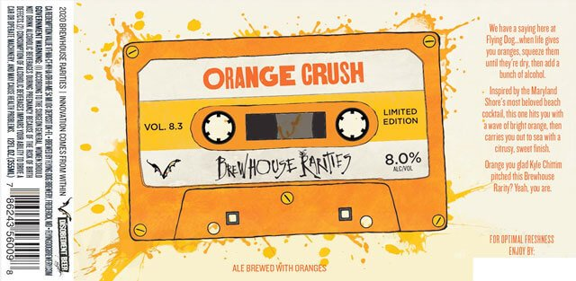 Label design for 12 oz. bottles of the Orange Crush by Flying Dog Brewery