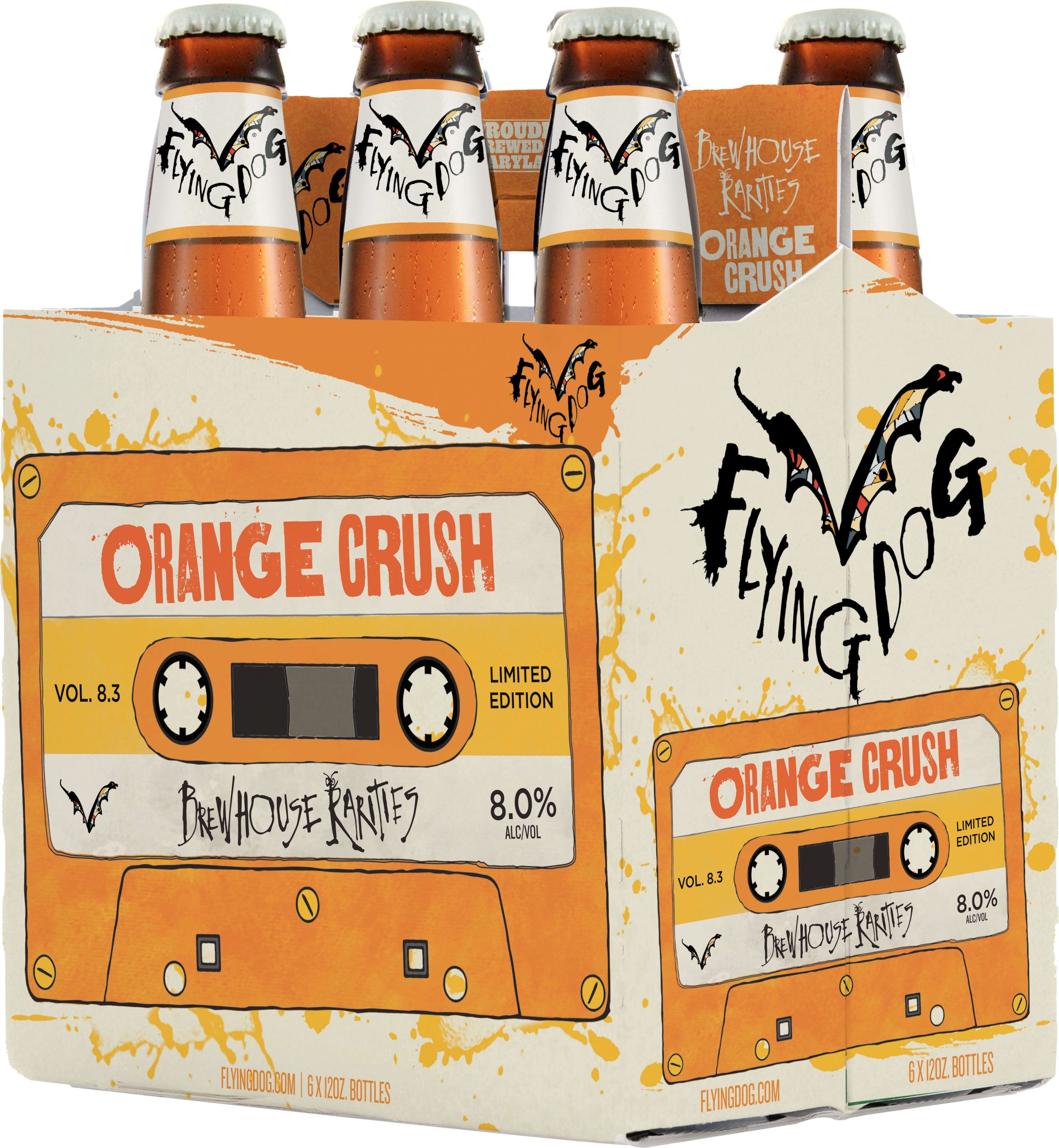 Packaging for six packs of 12 oz. bottles of the Orange Crush by Flying Dog Brewery