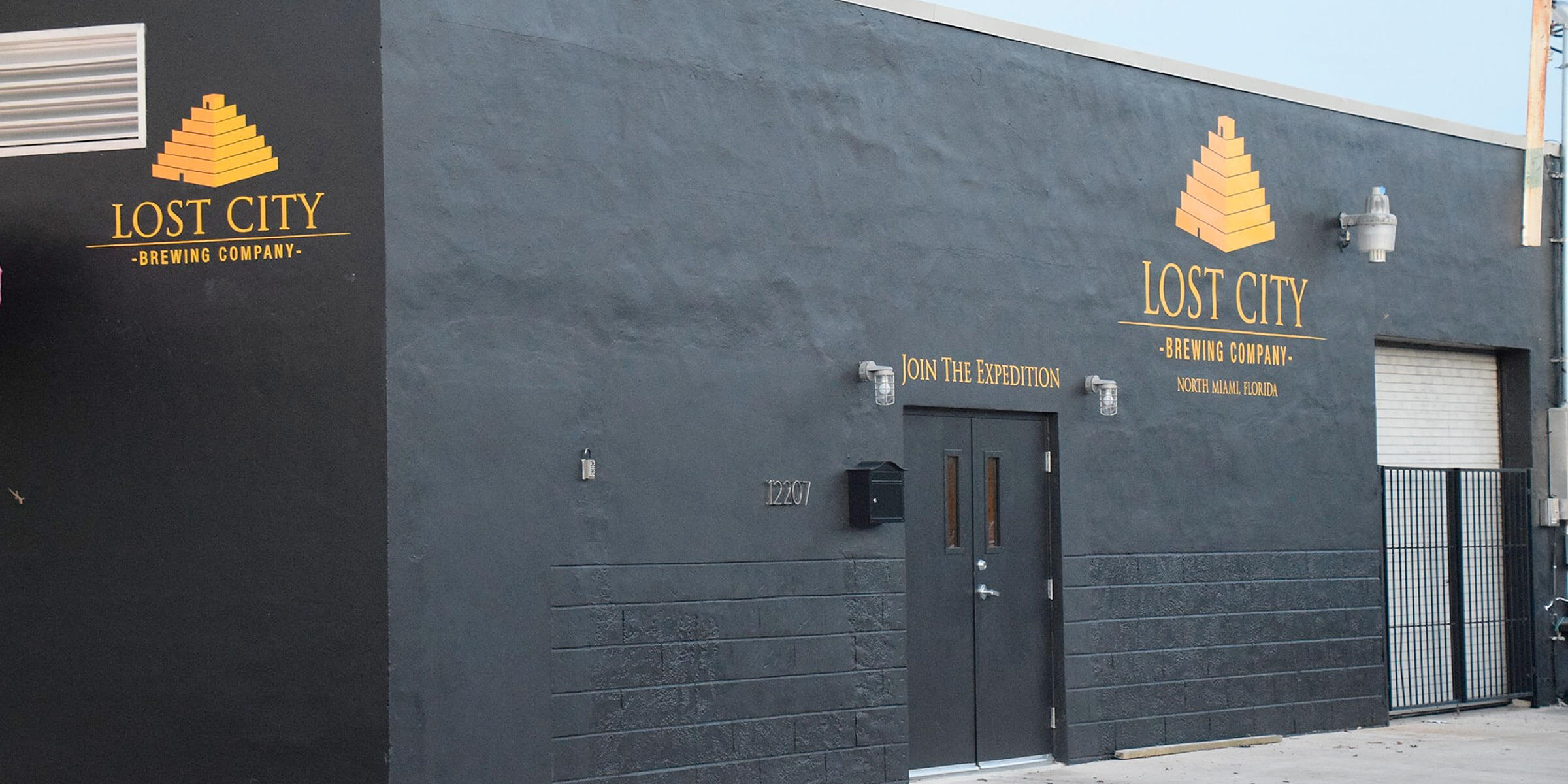Outside the entrance to Lost City Brewing Company in North Miami, Florida