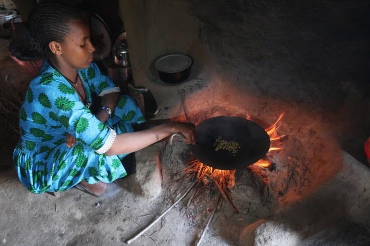 roasting during coffee ceremony in ethiopia