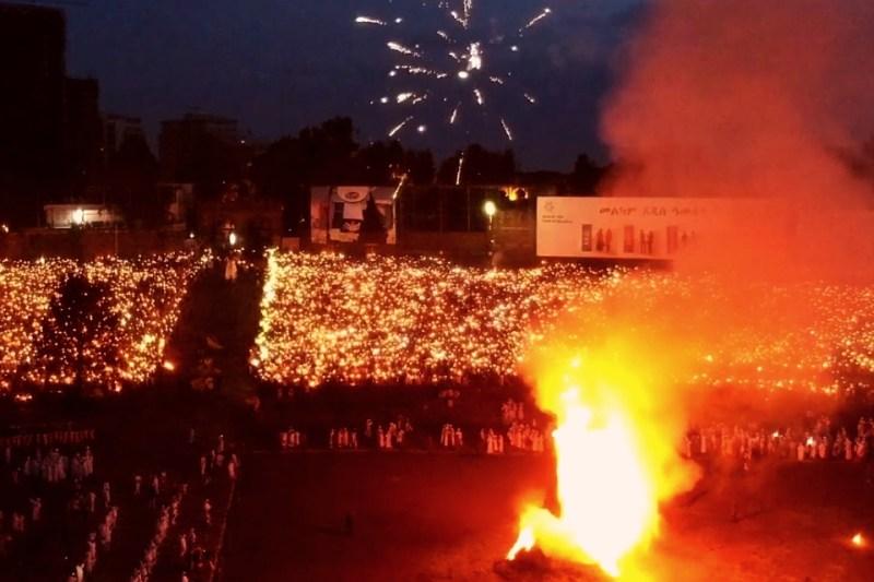 burning bonfire