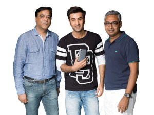 From left to right Sudhin Mathur, Director-Smartphones, Lenovo India, Ranbir Kapoor and Bhaskar Choudhuri, Director