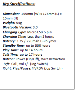 LG Tone Infinim Specification