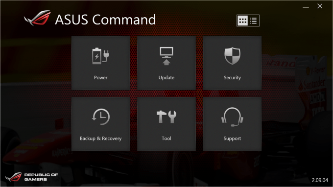 Asus Rog G20 Command which shows features