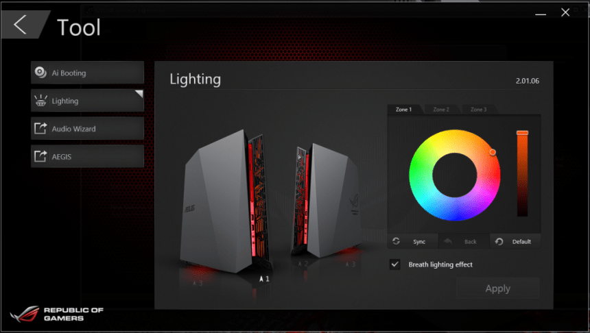 Asus Rog G20 Lights Customization feature