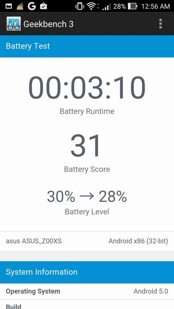 Asus Zenfone Zoom GeekBench Battery Score