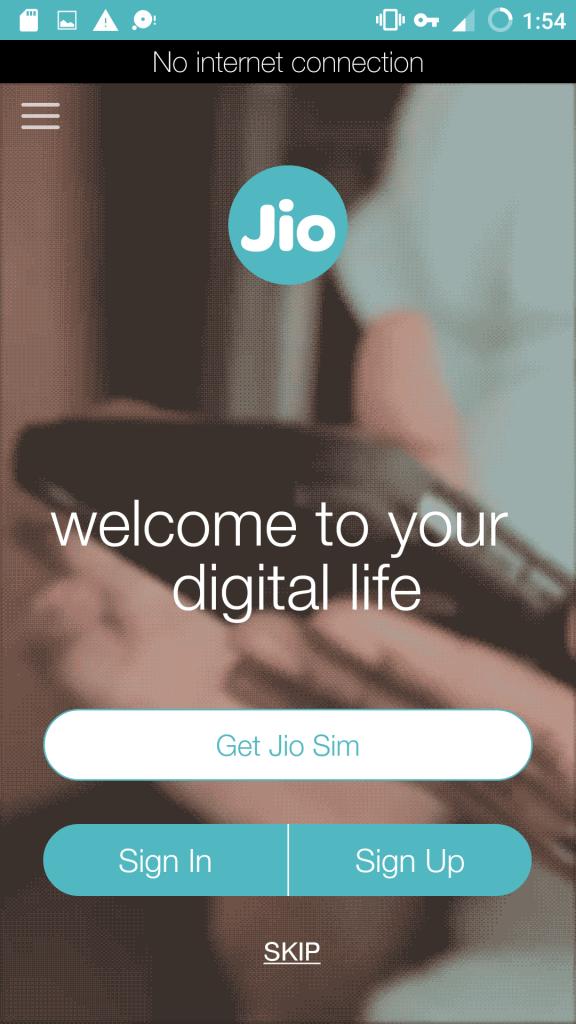 MyJio App Get Jio Sim Option