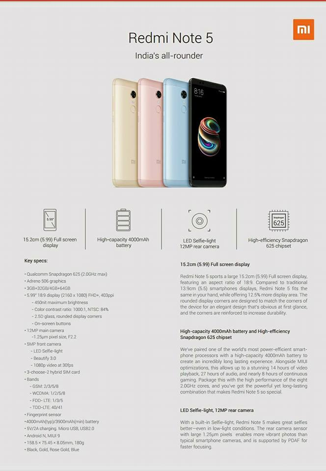 Xiaomi Redmi Note 5 Specification