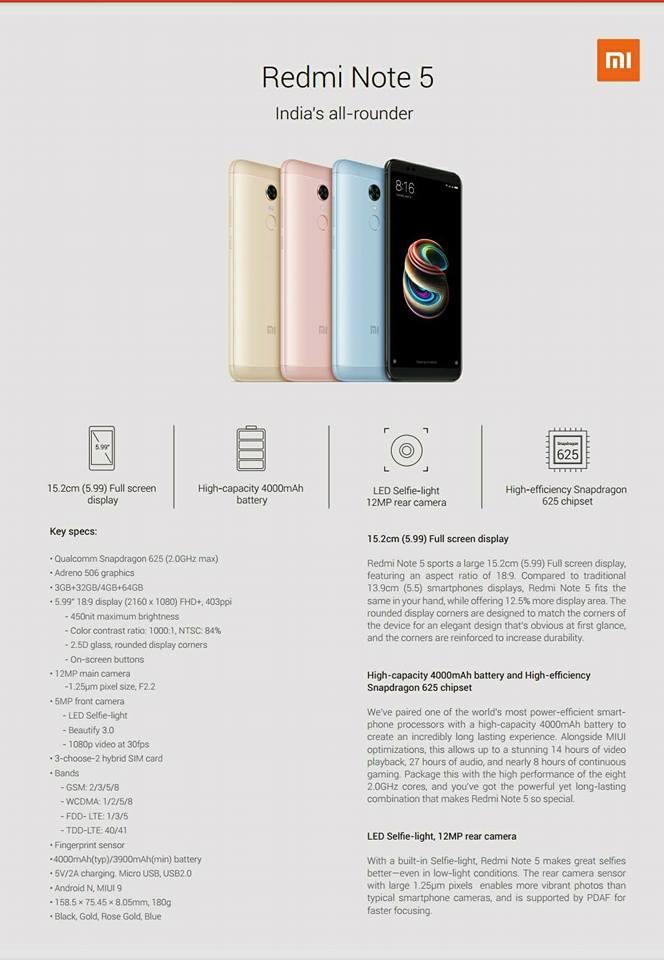 Xiaomi Redmi Note 5 Specification