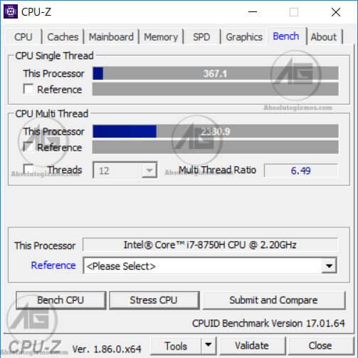 CPU-Z Multi-thread and Single Thread Benchmark Score