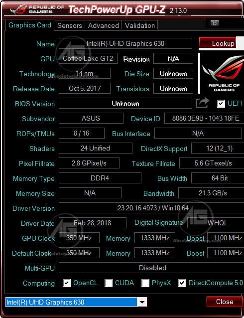 GPU-Z Intel UHD Graphics 630 in Asus ROG FX504