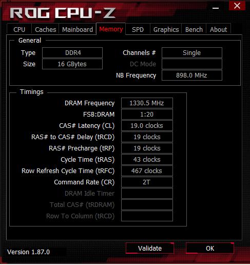 Asus ROG GL504 CPU-Z