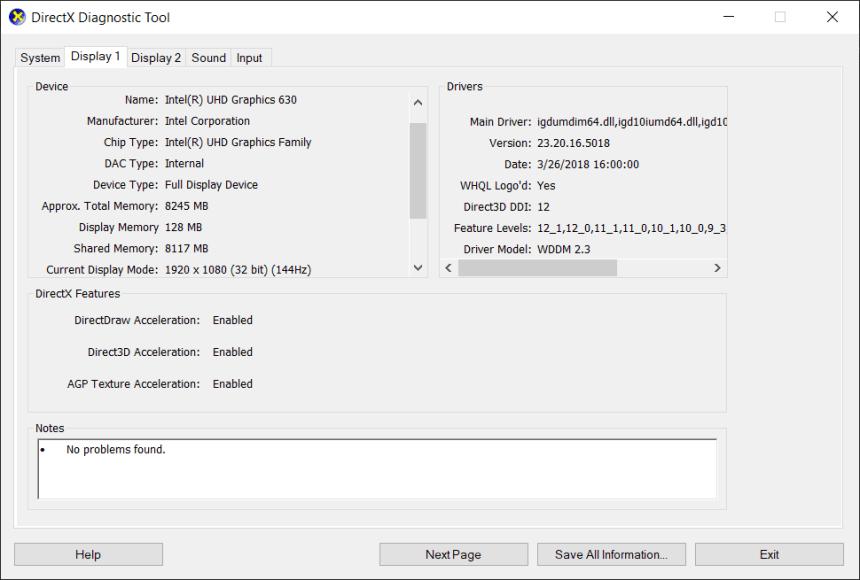 Asus ROG GL504 DXDIAG