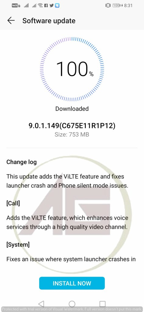 Software update received during the test in Honor 10 Lite