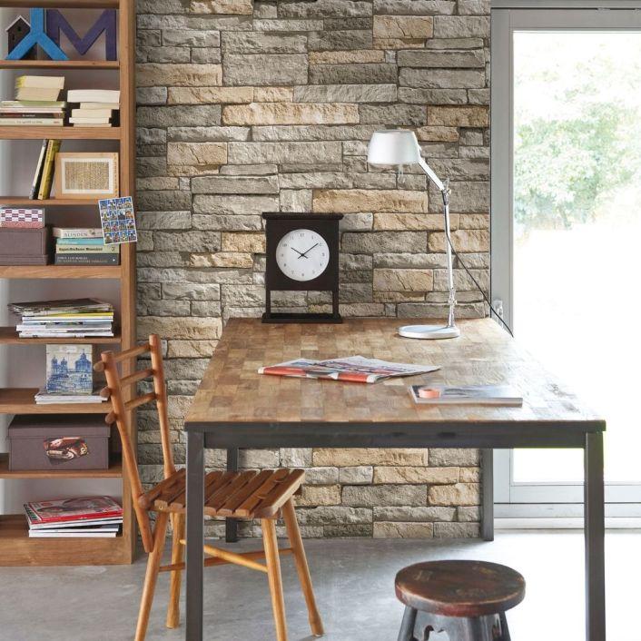 Ledgestone Grey and Terracotta Wallpaper