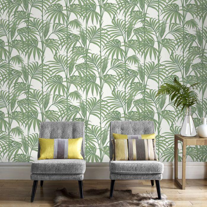 Honolulu Palm Green Wallpaper