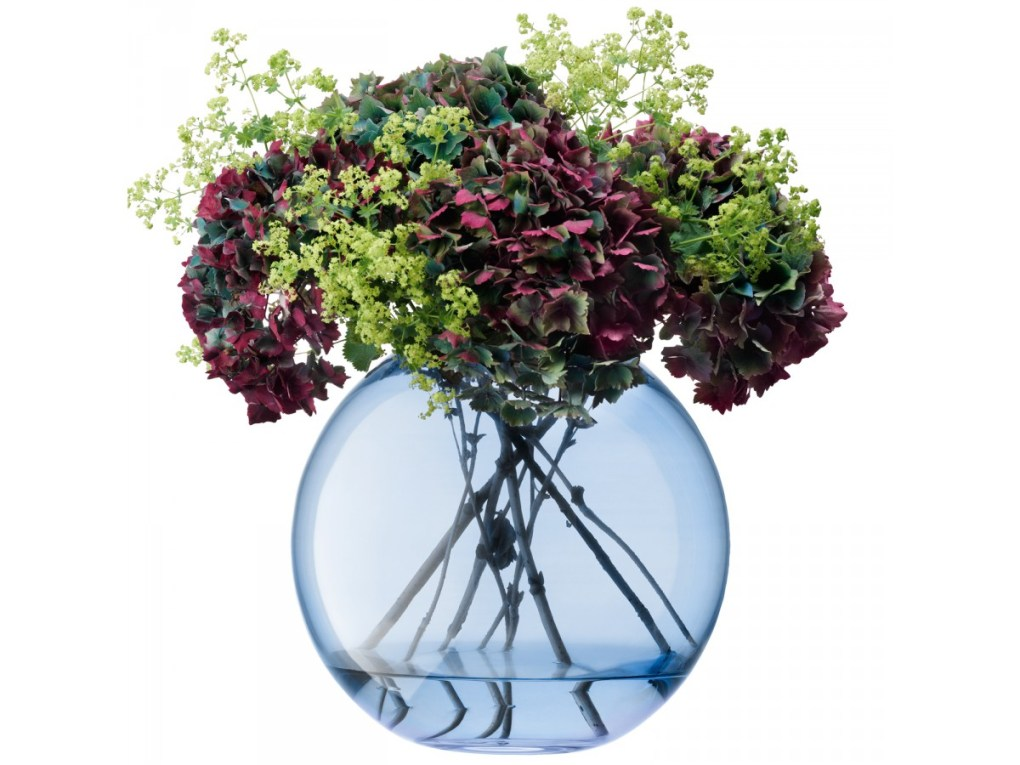 Polka Spherical Vase, Blue