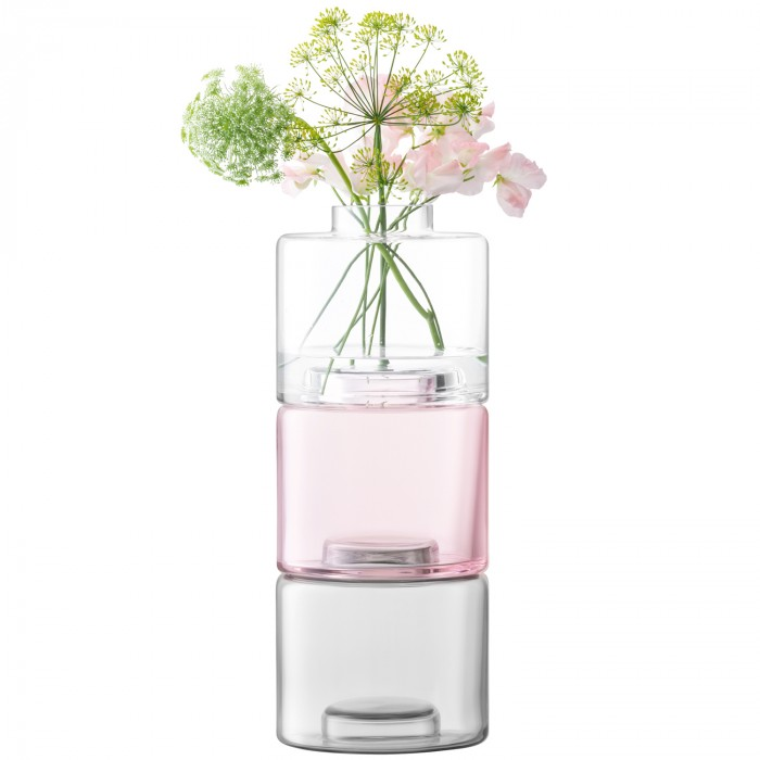Stack Trio Vase, Shade Of Pink