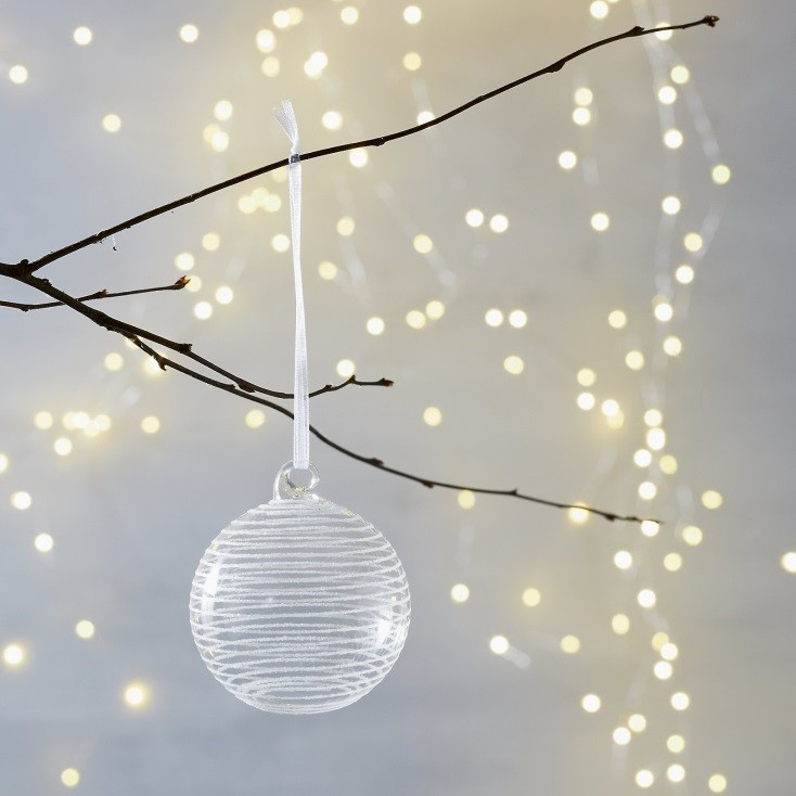 Sugar Circle Bauble with White Glitter Ring. £4.00 The White Company