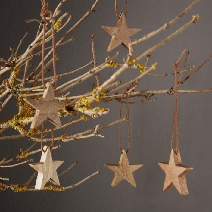 Warm Brown, set of five Mango wood KRABU Christmas star baubles £16.00 URBANARA-1