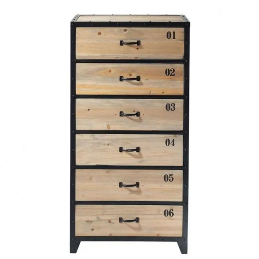 Industrial Black Metal and Fir Wood 6-Drawer Tall Chest