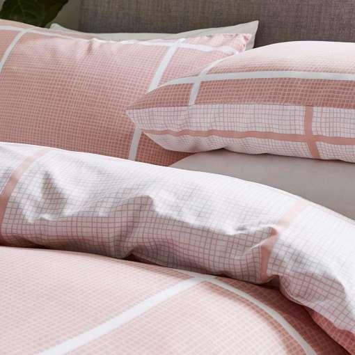Tait Pink Check Printed Reversible Duvet Set