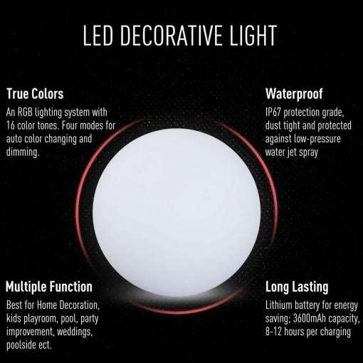 HOMCOM LED Glowing Ball Globe Lamp, 40cm