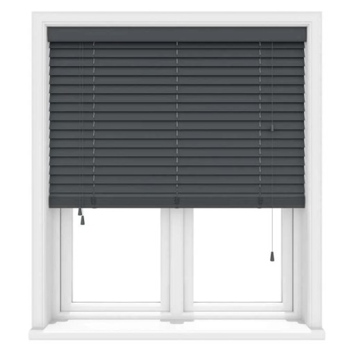 Khol Anthracite Real Wood Roman Blind, Made to Measure