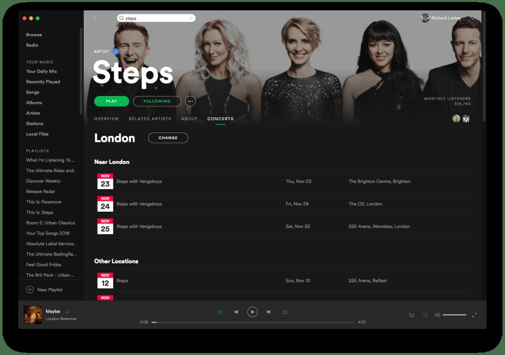 Spotify Live Dates