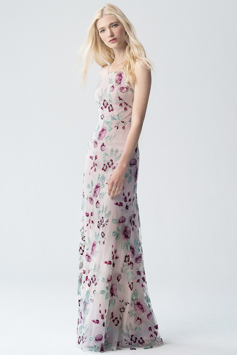 7 Floral haze In a soft floral pattern, this slimline style by Jenny Yoo offers a grown-up take on the bridesmaid gown and is perfect for a summer wedding. jennyyoo.com