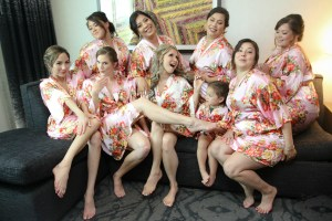 Wedding day bride and bridesmaids wearing robes picture