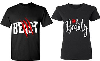 Beast & Beauty - Matching Couple Shirts - His and Her T-Shirts - Tees