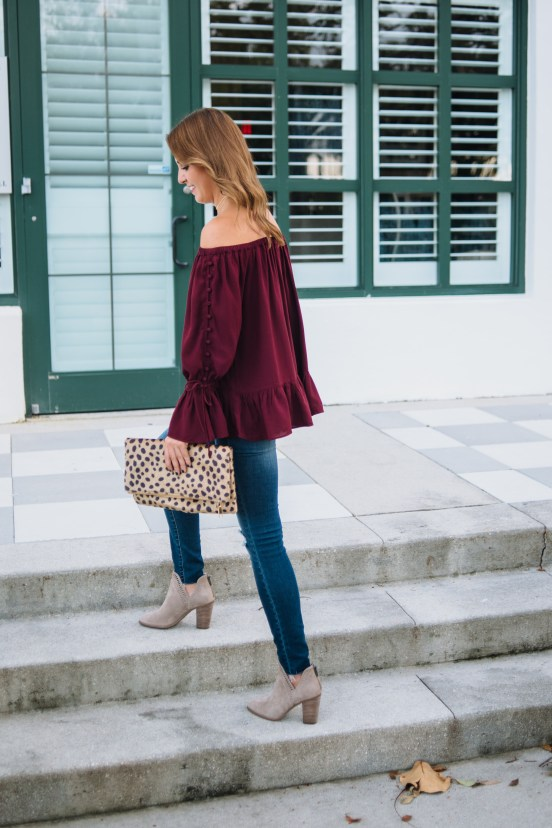 Burgundy Off the Shoulder Top by Florida fashion blogger Absolutely Annie
